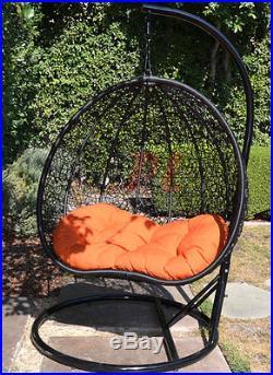 Egg Shape Wicker Rattan Swing Chair Hanging Hammock 2 Person 418 lbs Cap