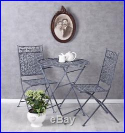 Eisenmöbel Sitzgruppe Landhaus Gartengarnitur Tisch zwei Stühle Gartenmöbel