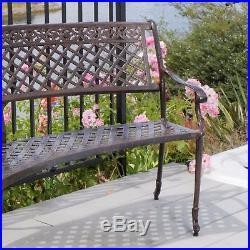 Elegant Outdoor Patio Furniture Antique Copper Cast Aluminum Bench
