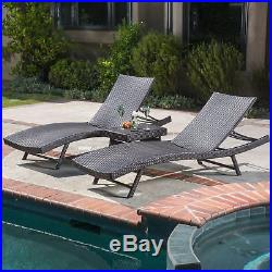Eliana 3pc Wicker Chaise Lounge Set
