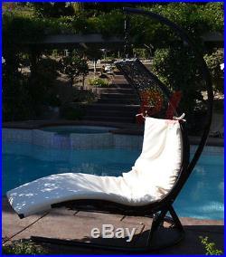 Enclave Lounge Swing Bed Chair Wicker Rattan Hammock Outdoor Patio Black / Khaki
