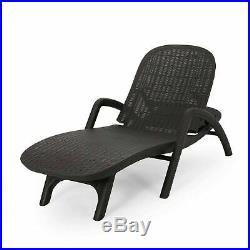 Farirra Outdoor Faux Wicker Chaise Lounge