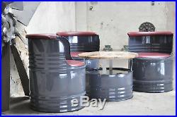 Fass Sitzgruppe aus 200 Liter Fass Ölfass Fassmöbel Farben nach Wahl Messemöbel
