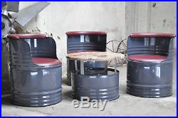 Fass Sitzgruppe aus 200l Neu Fässer Fass Ölfass Fassmöbel Farben Ihrer Wahl