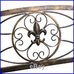 Fleur-De-Lis Iron Patio Hanging Porch Swing Chair Bench Seat Garden Furniture