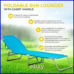 Foldable Sun Lounger Adjustable Back Rest Garden Chair Relaxer Patio Textilene