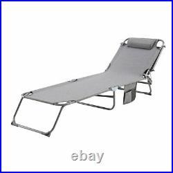 Foldable Sun Lounger Adjustable Back Rest Garden Chair Sunshade Patio Textilene