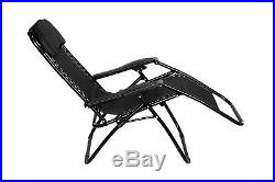 Folding Gravity Sun Lounger Chair Recliner Garden Sun Deck Bed Reclining Outdoor