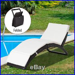 Folding Rattan Chaise Wicker Lounge Pool Patio Sofa Chair Cushioned Outdoor