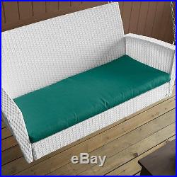Front Porch Swing White Wicker With Cushions Outdoor Furniture Patio Garden