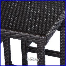 GOPLUS 3PCS Rattan Wicker Bar Set Patio Outdoor Table & 2 Stools Furniture Brown