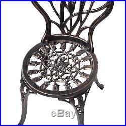 GOPLUS Cast Aluminum Patio Furniture Tulip Design Bistro Set Antique Copper