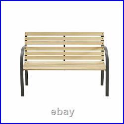 Garden Bench 2 Seater Steel Wooden Slats Outdoor Patio Seating Furniture Seat UK