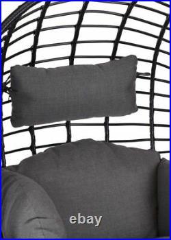 Garden Egg Bowl Chair Rattan Style Black Conservatory Cushion Seat