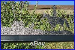 Garden Swing Hand Made W 100 Yr Old Hay Rake Wheels Steel & Redwood W Metal Art