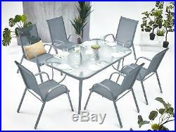 Gartengarnitur 7-tlg. Sitzgruppe Gartenmöbel Sitzgarnitur Gartenset Tisch Stuhl