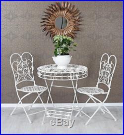 Gartenmöbel Set Tisch & zwei Stühle shabby chic Sitzgruppe Balkonmöbel Eisemöbel