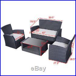 Goplus 4PCS Outdoor Patio Furniture Set Wicker Garden Lawn Sofa Rattan