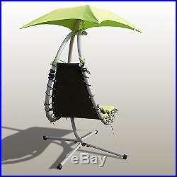 Green Hanging Chaise Lounger Chair Arc Stand Air Porch Swing Hammock Chair Set
