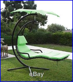 Green Hanging Swing Hammock Canopy Chaise Lounger Chair Porch Deck Patio Camping