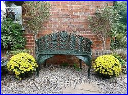 Green Laurel design Cast iron garden Bench antique style bench