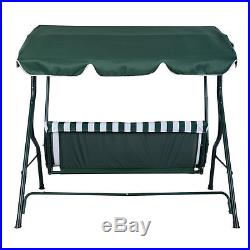 Green Outdoor Patio Swing Canopy 3 Person Awning Yard Furniture Hammock Steel