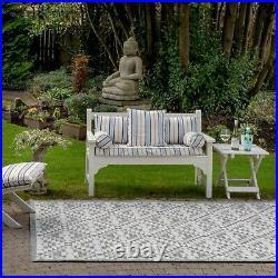 Grey Garden Patio Mats Flatweave Plastic Washable Premium Quality Indoor Outdoor