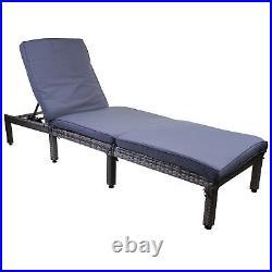Grey Rattan Sun Lounger Outdoor Garden Patio Furniture Recliner Relaxer Day Bed