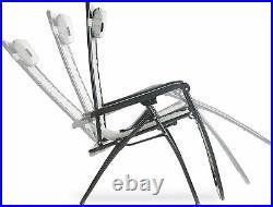 Grey Zero Gravity Recliner Outdoor Chair Garden Sun Lounger WithHolder Patio Deck