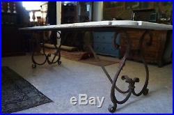 Grosser Gartentisch Tafel Eisen Marmorplatte 250cm lang Italien