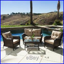 Haiden Outdoor 4pc Brown Wicker Sofa Set