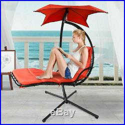 Hammock Chair Hanging Chaise Lounger Outdoor Patio Swing Stand withCanopy Arc