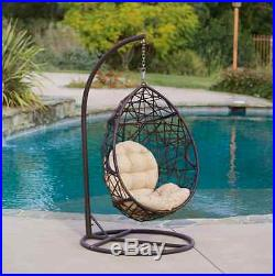 Hammock Chair With Stand Hanging Egg Chair Wicker Swing with Cushion Patio Deck