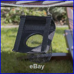 Hammock Cotton + Cup and Tablet Holder Rope Wood Arc Stand Outdoor Pool Backyard