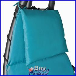 Hammock Hanging Chair Lounge Chaise Outdoor Patio Canopy SunShade Teal Blue