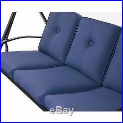 Hammock Swing with Canopy Outdoor Patio Yard Furniture Steel Cushioned Blue New