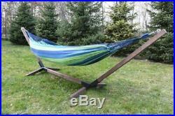 Hängemattegestell Hängegestell aus Holz mit Hängematte Gartenliege 200 x 80 cm