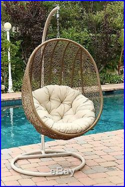 Hanging Basket Chair Patio Swinging Chairs Wicker Egg Outdoor Cushions Swing