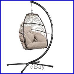 Hanging Egg Chair Outdoor Porch Swing Soft Cushion Seat Furniture Steel with Stand