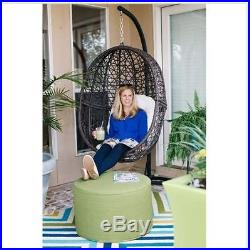 Hanging Egg Chair Swing Resin Wicker Cushion Indoor Outdoor Patio BROWN Seat New