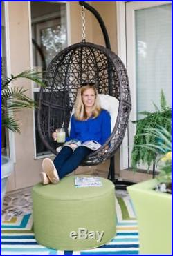 Hanging Egg Chair With Stand And Pad Wicker Hammock Outdoor Swing Seat Comfort