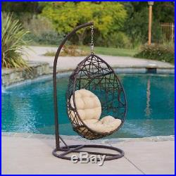 Hanging Egg Chair With Stand Wicker Hammock Outdoor Indoor Swing Seat Chairs