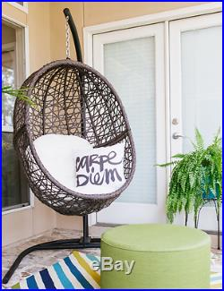 Hanging Egg Chair with Stand Wicker Basket Cushion Indoor Outdoor Hammock Swing