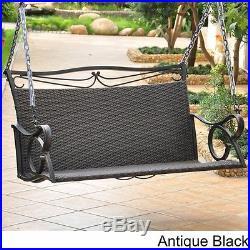 Hanging Loveseat Swing Wicker Steel Frame Patio Porch Garden Furniture Brown