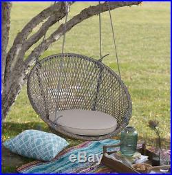 Hanging Wicker Chair Swing Patio Outdoor Porch Garden Furniture Tan Pad Cushion
