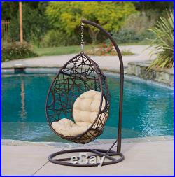 Hanging Wicker Egg Swinging Chair Seat Cushion Hammock Swing Stand Outdoor Brown
