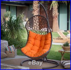 Hanging Wicker Egg Swinging Chair Seat Cushion Hammock Swing Stand Resin Outdoor Garden Swings