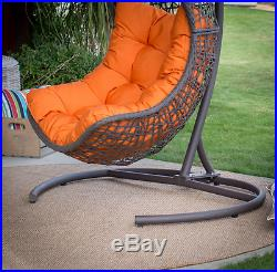Hanging Wicker Egg Swinging Chair Seat Cushion Hammock Swing Stand Resin Outdoor