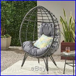 Hendryx Outdoor Wicker Teardrop Chair with Cushion