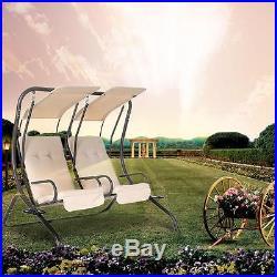 IKAYAA Outdoor Patio Swing Canopy 2 Person Awning Yard Furniture Hammock US D4H3